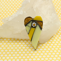Yellow Mosaic Heart Brooch
