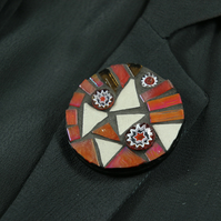 Round Mosaic Brooch - Orange and White