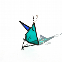 Stained Glass Sitting Bird with Wire Accents, Whacky Bird Ornament for a Desk