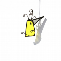 Yellow Wacky Bird, Stained Glass Character, Hanging Ornament