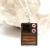 "Brown Mosaic Necklace set in Deep Silver Plated Pendant Tray with 16"" Chain"