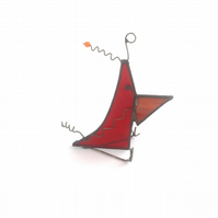 Quirky Red Stained Glass Bird, Ornamental Desk Buddy