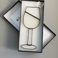 Quirky White Wine Glass Stained Glass Suncatcher - Window Ornament