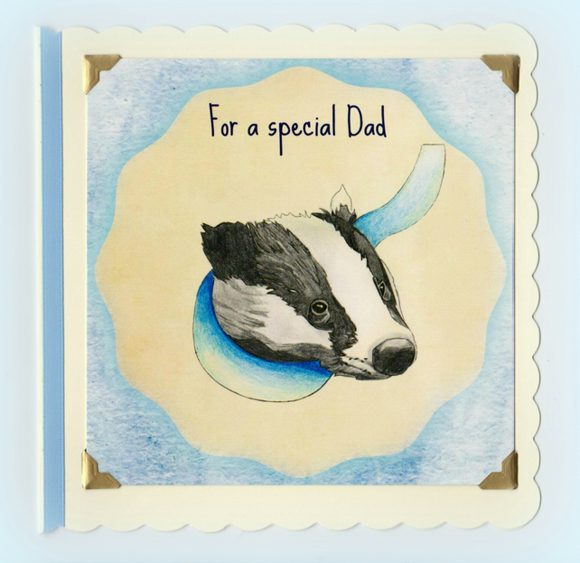 Special Dad watercolour badger card keepsake