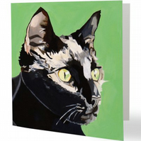 Cat art greetings card