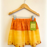Orange & yellow cotton girls skirt