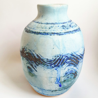 Ceramic Vase in pale turquoise glazes