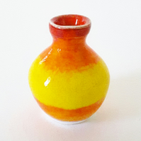 Miniature Ceramic Vase in Yellow and Orange