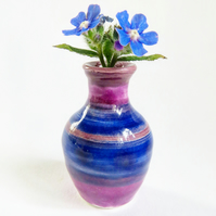 Mini Ceramic Pottery Vase in Blue and Purple Glazes