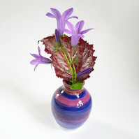 Miniature Ceramic Vase in Blue & Pink Glazes