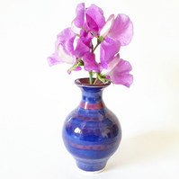 Ceramic Vase in Blue and Purple Glazes