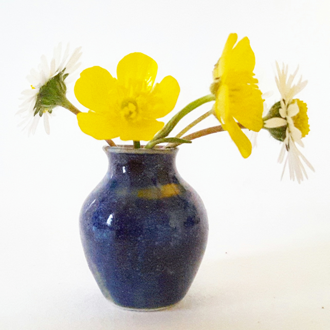Miniature Ceramic Vase in Blue Glaze
