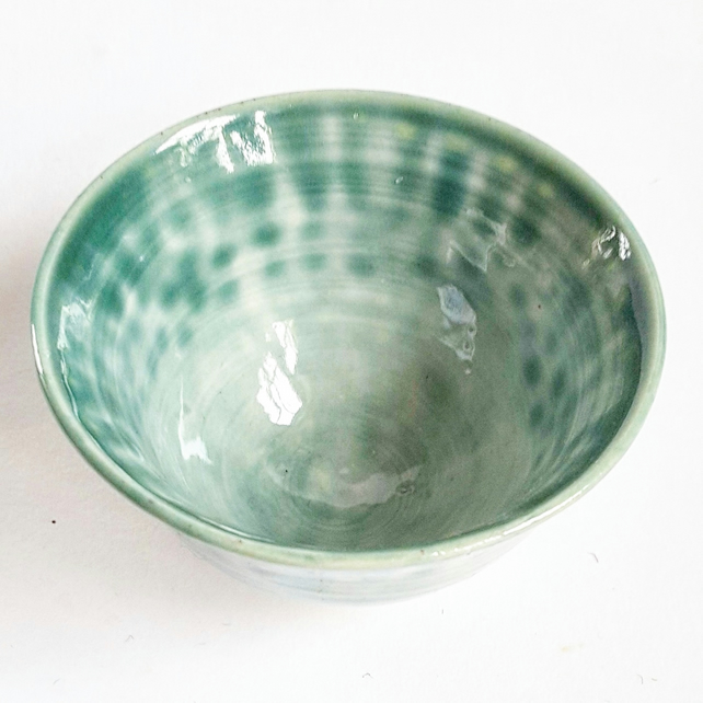 Miniature Green Ceramic Bowl