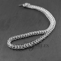 Fine silver loop in loop necklet
