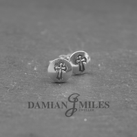 Hand stamped, sterling silver, Cross stud earrings.