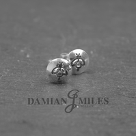 Hand stamped, sterling silver, Bee stud earrings.