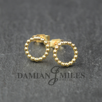 Circular Beaded stud earrings in 9ct gold.