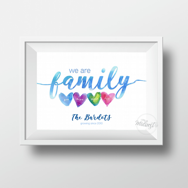 We Are Family - Personalised Family Name Art Print (unframed A4)