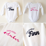 Little Sister or Brother Personalised Baby Bodysuit Long Sleeve Babygrow
