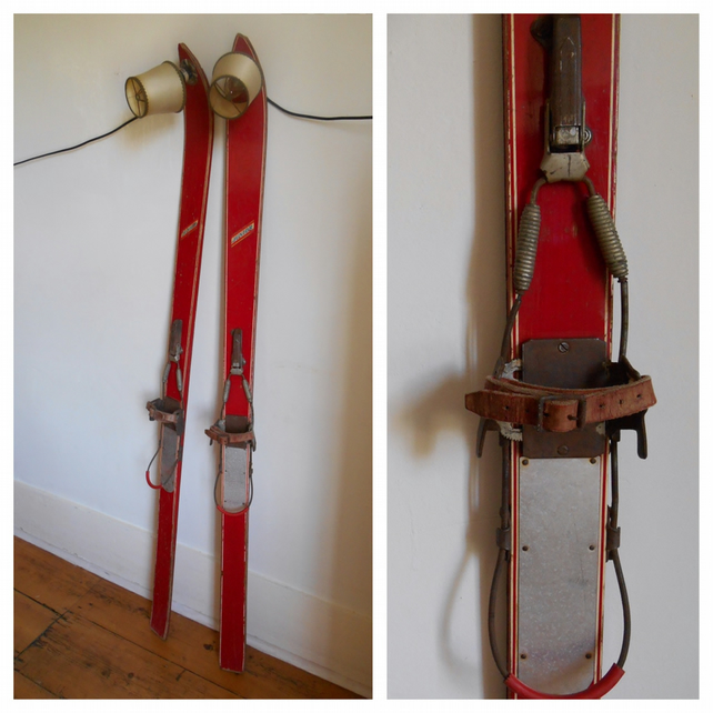 A pair of antique ski lamps