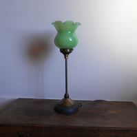 Tall Green Glass Lamp