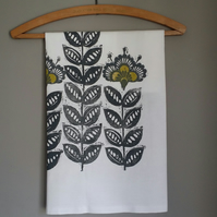 Tea towel. 'Retro flower' - hand printed tea towel. retro style. scandi design,