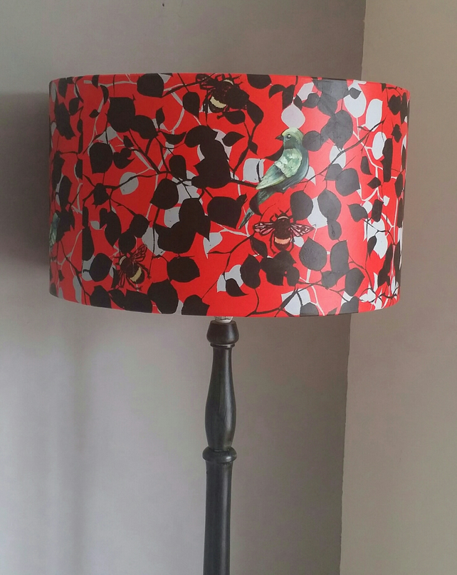 Hand printed lampshade. hand painted lampshade.large red lampshade.drum lampshad