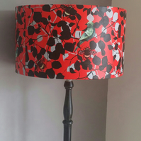 "lampshade. Birds and Bee's"" hand printed lampshade. red lampshade. drum lampshad"