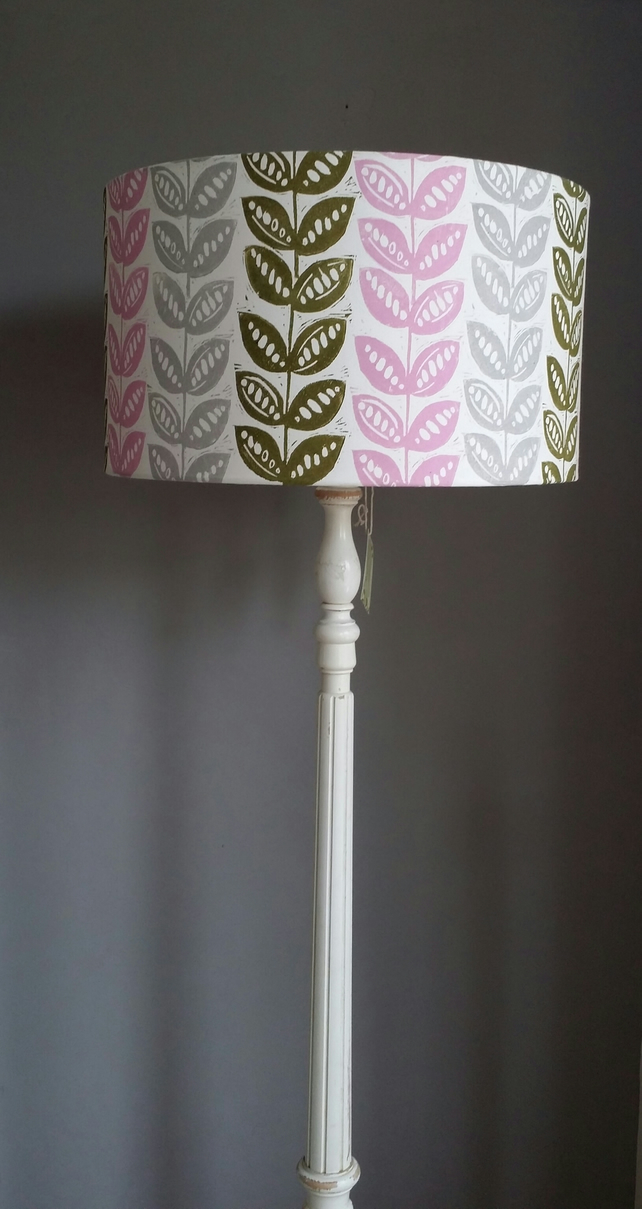 Pretty pea linocut hand rolled and printed lampshade