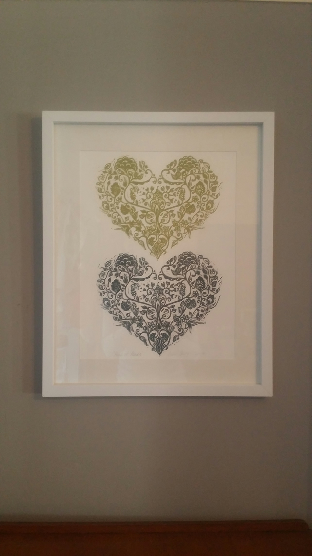 "Hand carved lino cut"" Heart of flowers' double print"