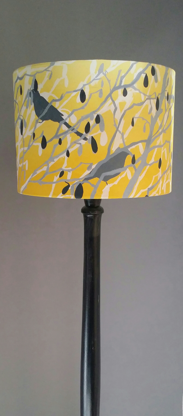 Hand printed lampshade, hand painted drum lampshade, table lampshade