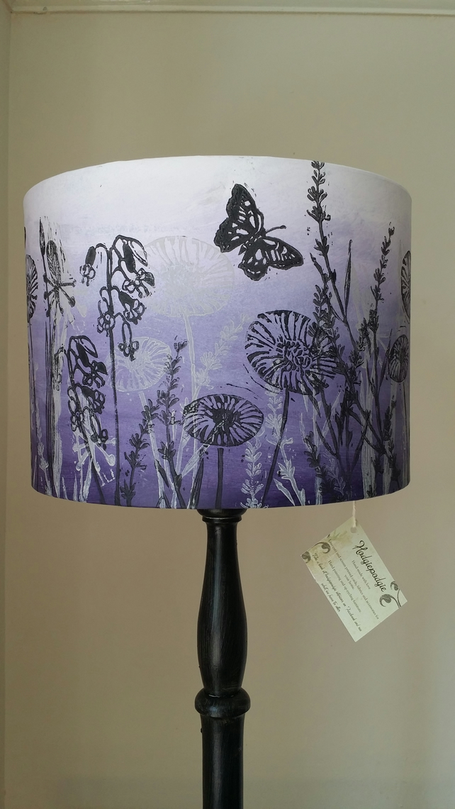 "Lovely 'dandelion and butterflies"" hand printed lampshade .Original design"