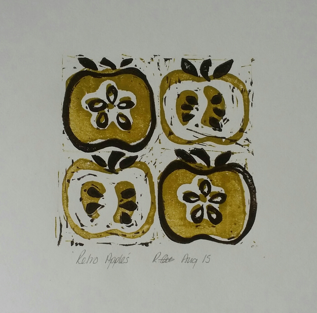"""Retro Apples"" lino cut."