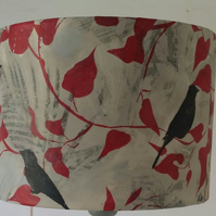 """Birds in Ivy"" hand printed and rolled lampshade."