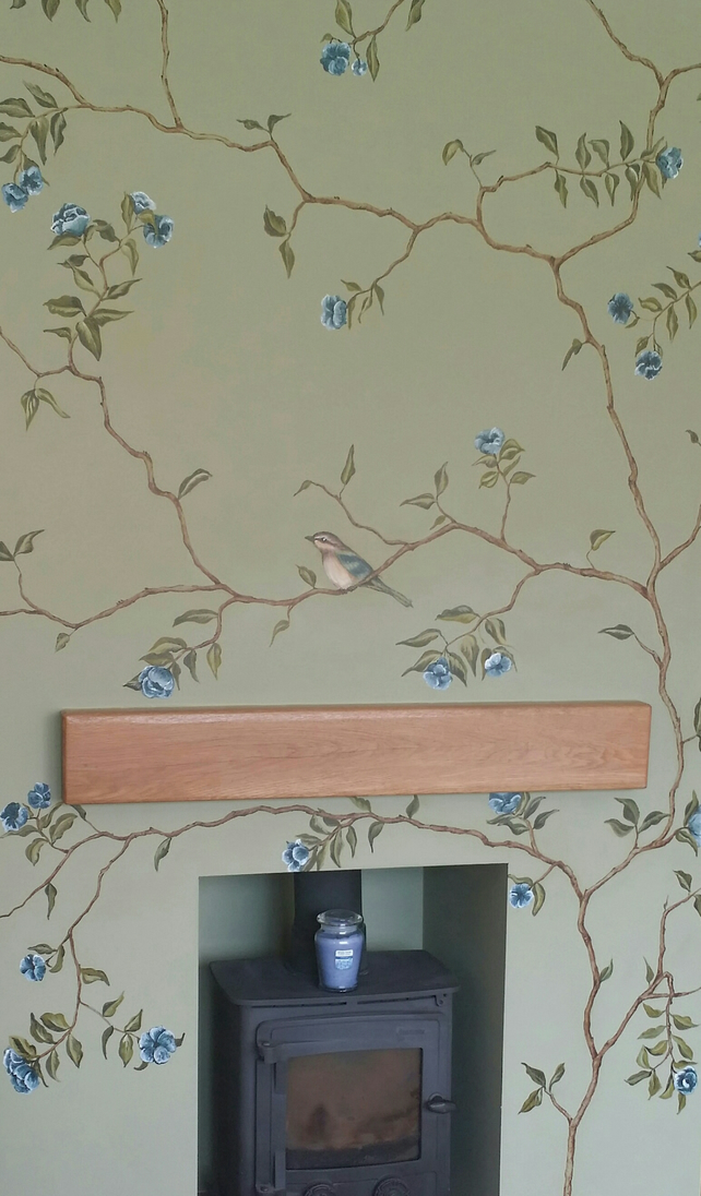 Chinoiserie inspired mural wallpaper. Hand painted. 156cm x 250cm