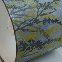 "handprinted  ""lavender and dandelions "" lampshade."