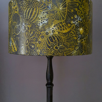 Drum lampshade, hand printed lampshade. large lampshade,green lampshade,