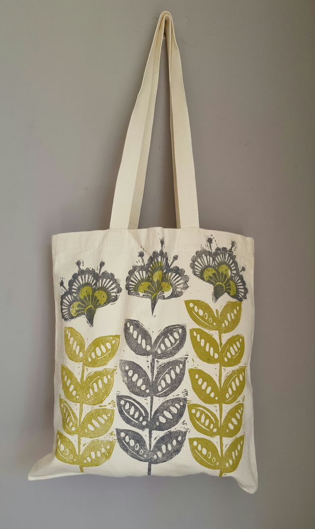 "Lino print"" Retro flower "" tote bag. Handprinted front and back"