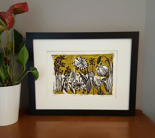 "Linocut print- ""Floral View"" Handprinted. Olive green, original  artwork"