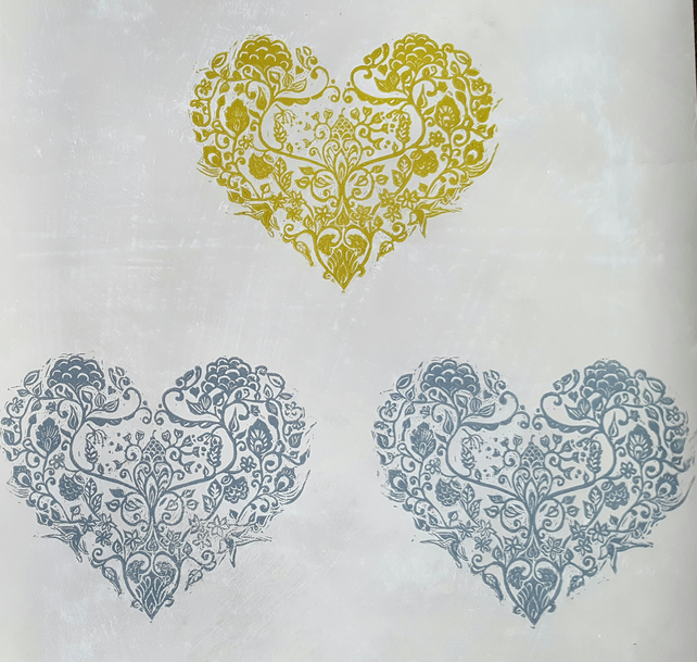 "wallpaper. Hand printed ""Hearts of flowers""  lino cut wallpaper. 3mtr roll."