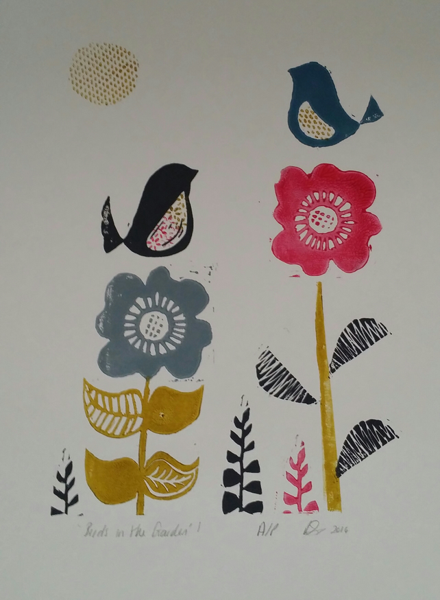 "lino print- ""Birds in the Garden"""