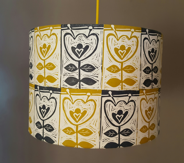 Handprinted lampshade retro lampshade large drum lampshade linocut print