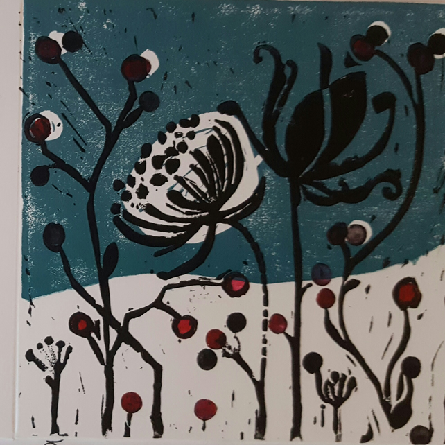 Handprinted cards. Winter notelets. Lino cut cards.