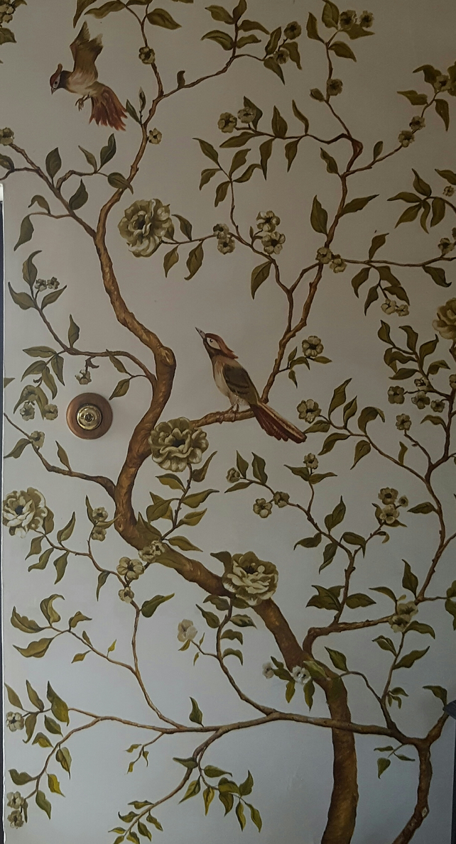 Hand painted chinoiserie, wall mural, hand painted wallpaper, bird wallpaper.