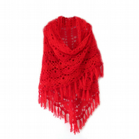 "BRIGHT RED CROCHET FRINGE SHAWL (80"" X 42"")"