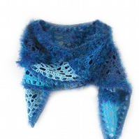 "Blue Crochet Scarf with Triangle Design (80""x 8"")"