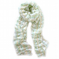 "Crochet Scarf in White, Yellow and Mint Green (84"" x 15"")"