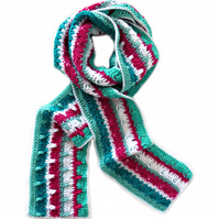 "Crochet Scarf with Stripes in Green, Fuchsia and White (88"" x 6"")"