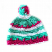 Crochet HAT with a Pom Pom in Green, White and Fuchsia