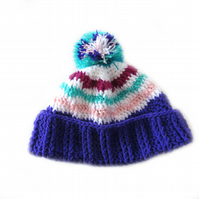 CROCHET WINTER HAT IN PURPLE, GREEN, WHITE AND PINK